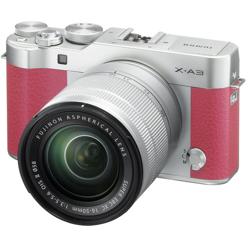 Fujifilm X-A3 Mirrorless Digital Camera with 16-50mm and 50-230mm Lenses Kit (Pink)
