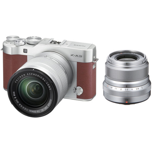 Fujifilm X-A3 Mirrorless Digital Camera with 16-50mm and Silver 23mm f/2 Lenses (Brown)
