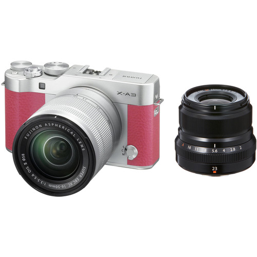Fujifilm X-A3 Mirrorless Digital Camera with 16-50mm and Black 23mm f/2 Lenses (Pink)