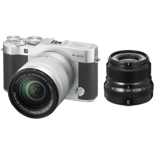Fujifilm X-A3 Mirrorless Digital Camera with 16-50mm and Black 23mm f/2 Lenses (Silver)