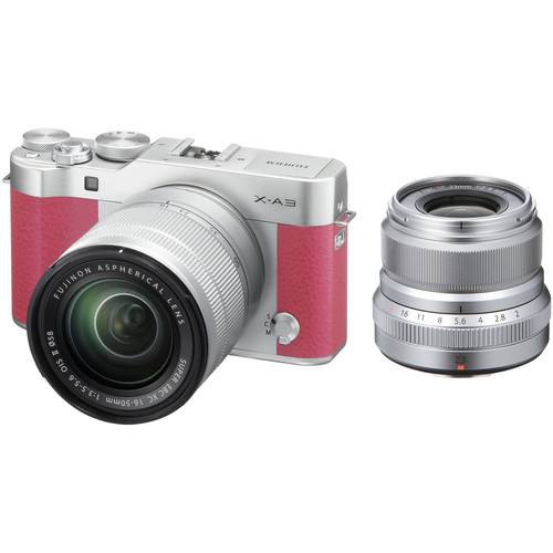 Fujifilm X-A3 Mirrorless Digital Camera with 16-50mm and Silver 23mm f/2 Lenses (Pink)