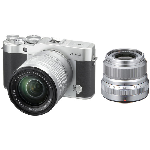 Fujifilm X-A3 Mirrorless Digital Camera with 16-50mm and Silver 23mm f/2 Lenses (Silver)