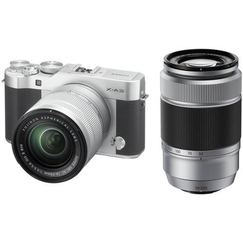 FUJIFILM X-A3 Mirrorless Digital Camera with 16-50mm and 50-230mm Lenses Kit (Silver)