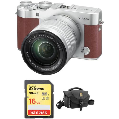 Fujifilm X-A3 Mirrorless Digital Camera with 16-50mm Lens Basic Kit (Brown)