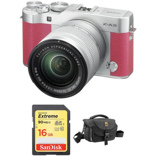 Fujifilm X-A3 Mirrorless Digital Camera with 16-50mm Lens Basic Kit (Pink)