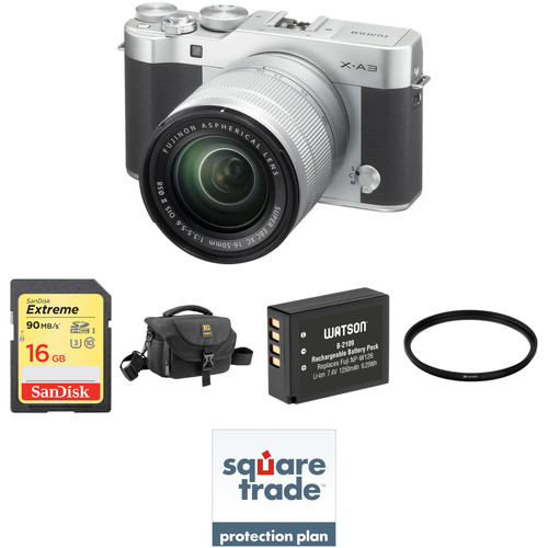 Fujifilm X-A3 Mirrorless Digital Camera with 16-50mm Lens Deluxe Kit (Silver)