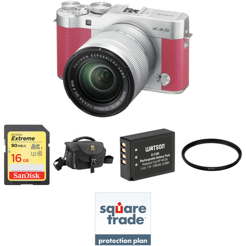 Fujifilm X-A3 Mirrorless Digital Camera with 16-50mm Lens Deluxe Kit (Pink)