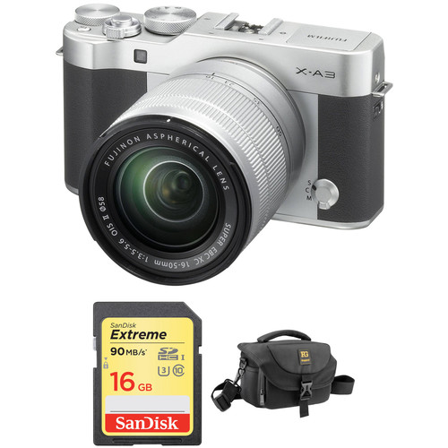 Fujifilm X-A3 Mirrorless Digital Camera with 16-50mm Lens Basic Kit (Silver)