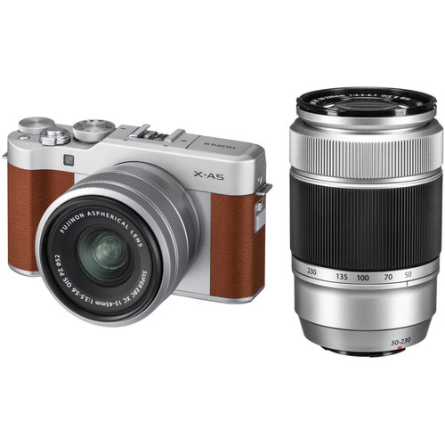 Fujifilm X-A5 Mirrorless Camera with 15-45mm and 50-230mm Lens Kit (Brown)