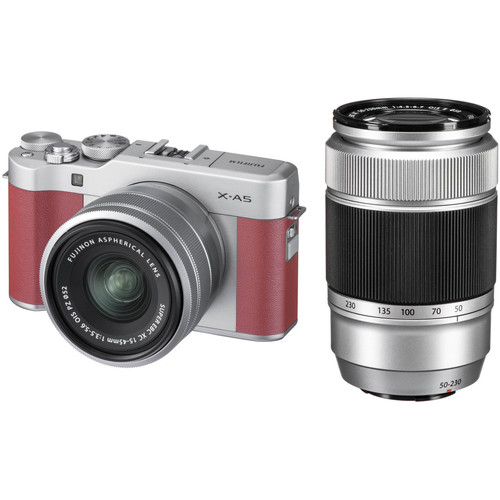 FUJIFILM X-A5 Mirrorless Camera with 15-45mm and 50-230mm Lens Kit (Pink)