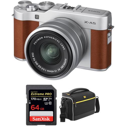 FUJIFILM X-A5 Mirrorless Digital Camera with 15-45mm Lens Accessory Kit (Brown)