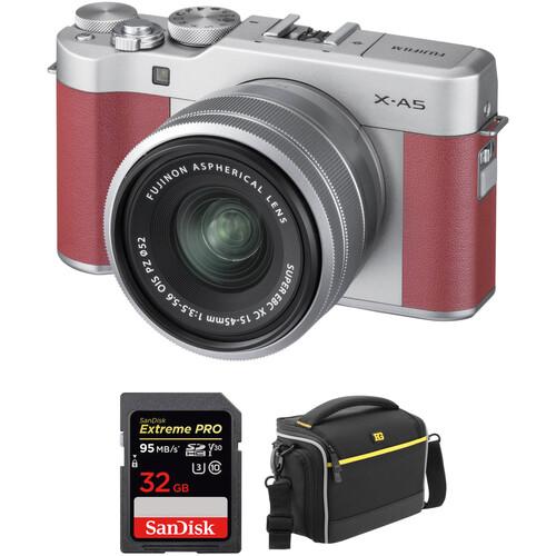 Fujifilm X-A5 Mirrorless Digital Camera with 15-45mm Lens Accessory Kit (Pink)