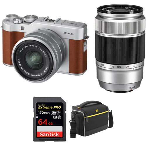 FUJIFILM X-A5 Mirrorless Digital Camera with 15-45mm and 50-230mm Lenses Accessory Kit (Brown)