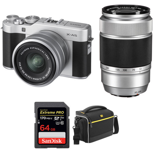 FUJIFILM X-A5 Mirrorless Digital Camera with 15-45mm and 50-230mm Lenses Accessory Kit (Silver)