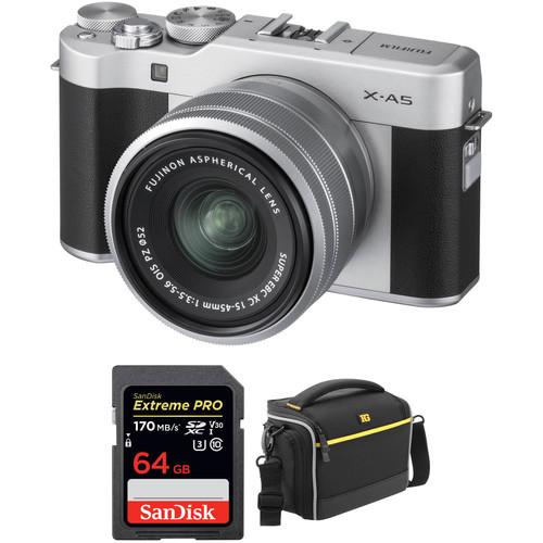 FUJIFILM X-A5 Mirrorless Digital Camera with 15-45mm Lens Accessory Kit (Silver)