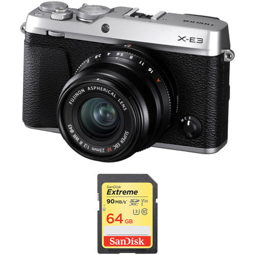Fujifilm X-E3 Mirrorless Digital Camera with 23mm Lens and Memory Card Kit (Silver)