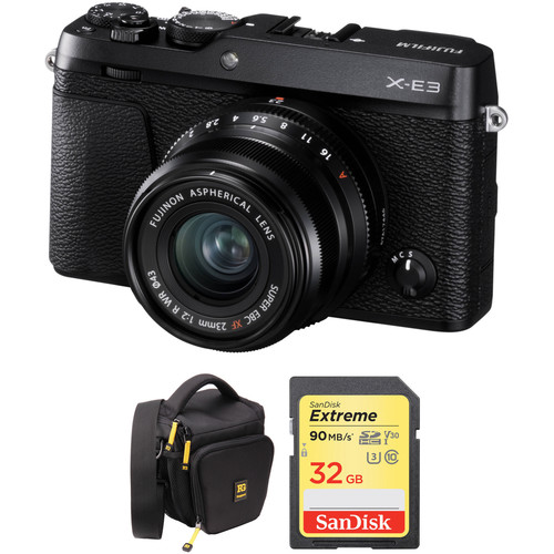 Fujifilm X-E3 Mirrorless Digital Camera with 23mm Lens and Accessories Kit (Black)