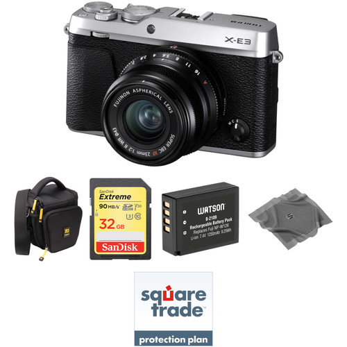 FUJIFILM X-E3 Mirrorless Digital Camera with 23mm Lens Deluxe Kit (Silver)