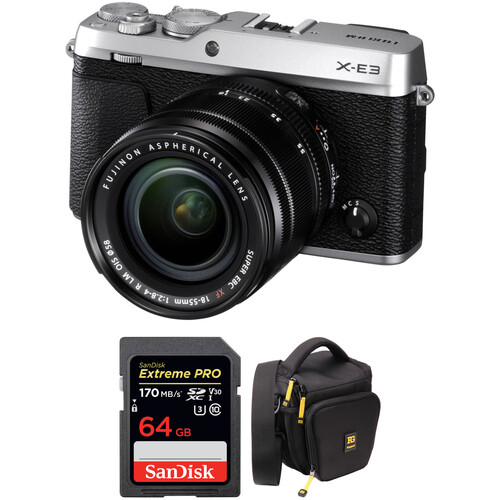 Fujifilm X-E3 Mirrorless Digital Camera with 18-55mm Lens and Accessories Kit (Silver)