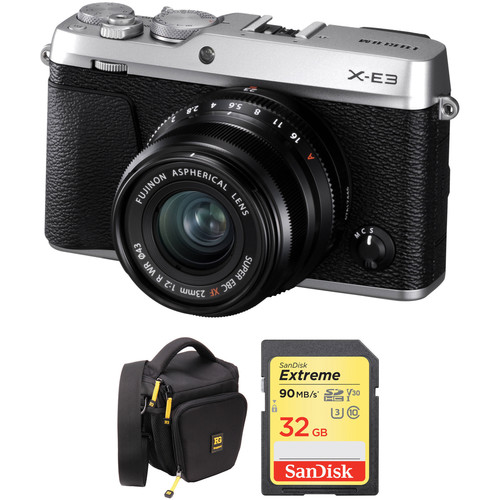 FUJIFILM X-E3 Mirrorless Digital Camera with 23mm Lens and Accessories Kit (Silver)