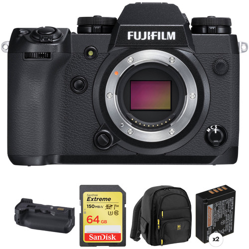 FUJIFILM X-H1 Mirrorless Digital Camera with Vertical Grip and Accessories Kit