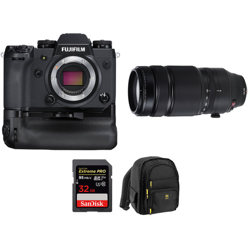 FUJIFILM X-H1 Mirrorless Digital Camera with 100-400mm Lens and Memory Card Kit