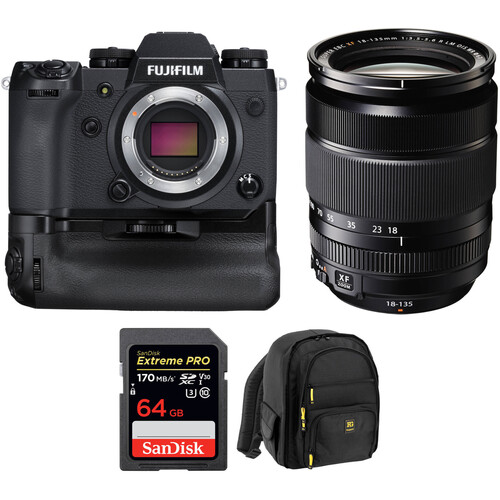 FUJIFILM X-H1 Mirrorless Digital Camera Body with 18-135mm Lens, Battery Grip, and Accessories Kit