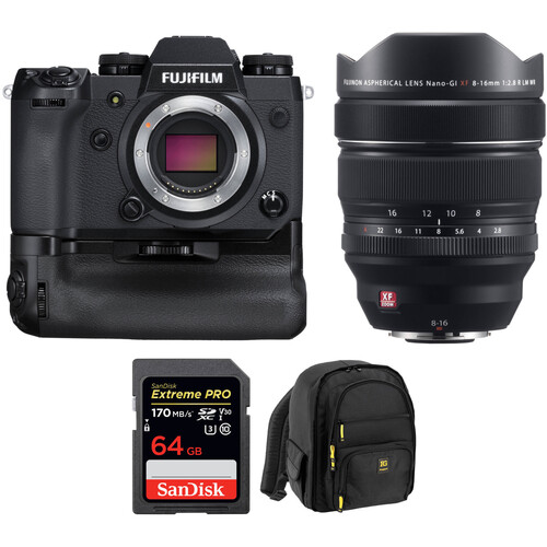 FUJIFILM X-H1 Mirrorless Digital Camera with 8-16mm Lens, Battery Grip, and Accessories Kit