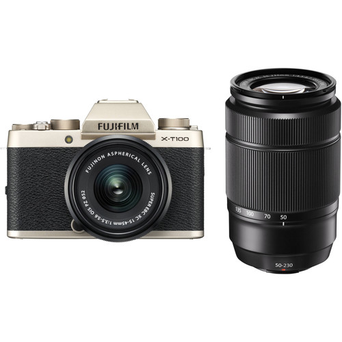 Fujifilm X-T100 Camera with 15-45mm and 50-230mm Lens Kit (Gold)