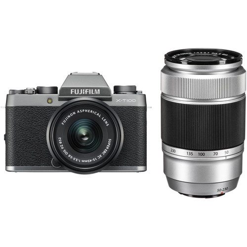 FUJIFILM X-T100 Camera with 15-45mm and 50-230mm Lens Kit (Silver)