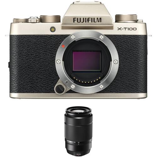 Fujifilm X-T100 Camera with XC 50-230mm f/4.5-6.7 OIS II Lens Kit (Gold)
