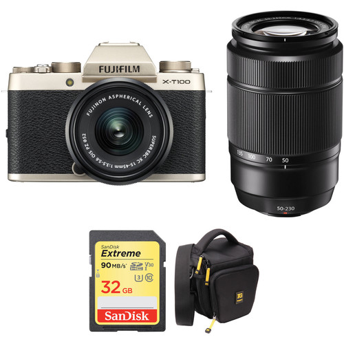 FUJIFILM X-T100 Mirrorless Digital Camera with 15-45mm and 50-230mm Lenses and Accessories Kit (Champagne Gold)