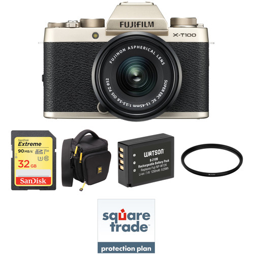 FUJIFILM X-T100 Mirrorless Digital Camera with 15-45mm Lens and Deluxe Accessory Kit (Champagne Gold)