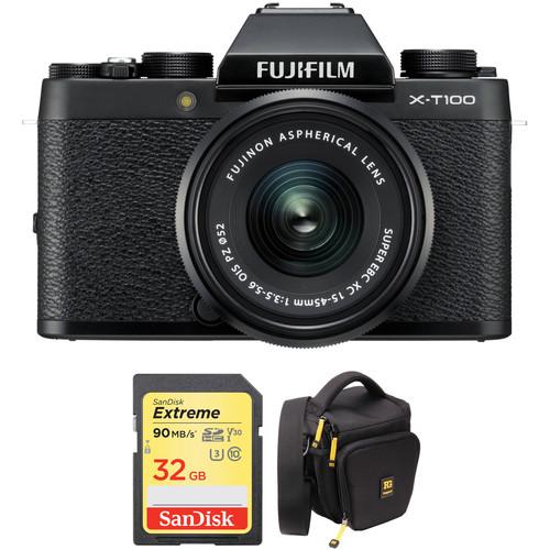 FUJIFILM X-T100 Mirrorless Digital Camera with 15-45mm Lens and Accessory Kit (Black)