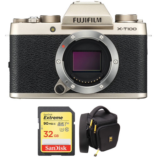 FUJIFILM X-T100 Mirrorless Digital Camera Body with Accessories Kit (Champagne Gold)