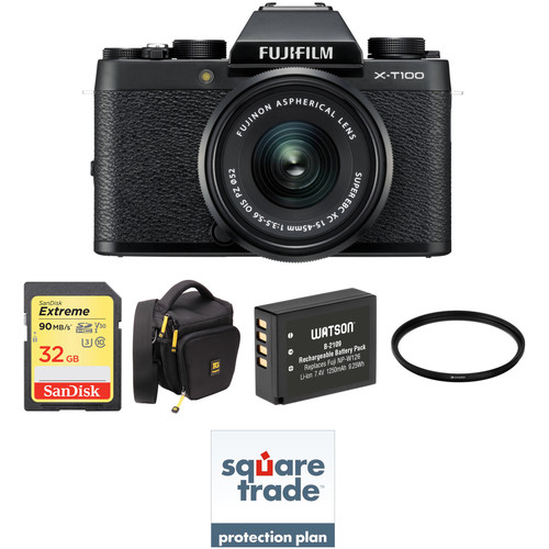 FUJIFILM X-T100 Mirrorless Digital Camera with 15-45mm Lens and Deluxe Accessory Kit (Black)