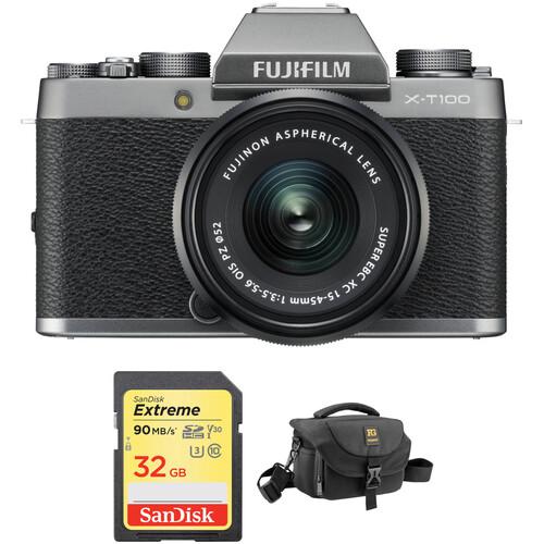 FUJIFILM X-T100 Mirrorless Digital Camera with 15-45mm Lens and Accessory Kit (Dark Silver)