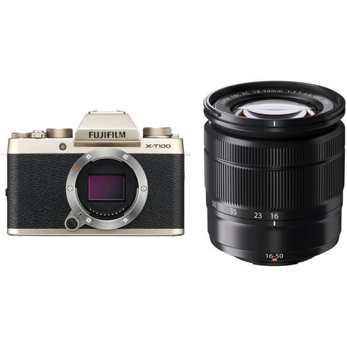 FUJIFILM X-T100 Mirrorless Digital Camera with 16-50mm Lens Kit (Champagne Gold)
