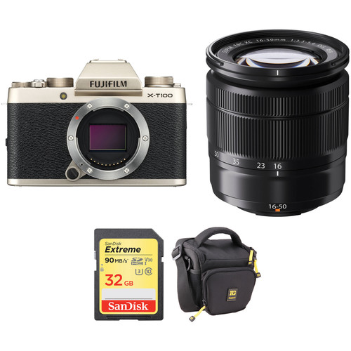 FUJIFILM X-T100 Mirrorless Digital Camera with 16-50mm Lens and Accessories Kit (Champagne Gold)