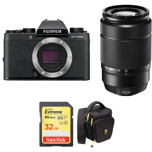 FUJIFILM X-T100 Mirrorless Digital Camera with 50-230mm Lens and Accessories Kit (Black)