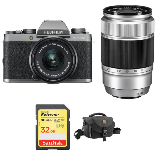 FUJIFILM X-T100 Mirrorless Digital Camera with 15-45mm and 50-230mm Lenses and Accessories Kit (Dark Silver)