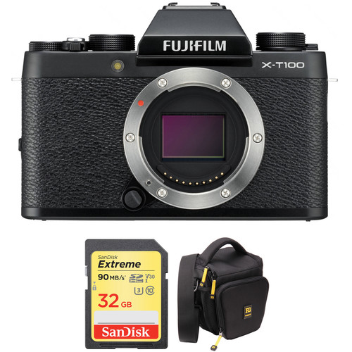 FUJIFILM X-T100 Mirrorless Digital Camera Body with Accessories Kit (Black)