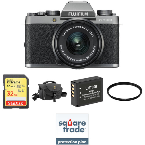 FUJIFILM X-T100 Mirrorless Digital Camera with 15-45mm Lens and Deluxe Accessory Kit (Dark Silver)