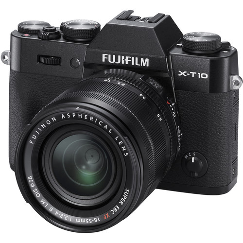 Fujifilm X-T10 Mirrorless Digital Camera with 18-55mm and 55-200mm Lenses Kit (Black)