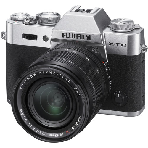 Fujifilm X-T10 Mirrorless Digital Camera with 18-55mm and 35mm Lenses Kit (Silver)