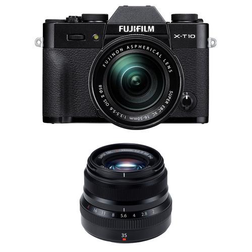 Fujifilm X-T10 Mirrorless Digital Camera with 16-50mm and 35mm Lenses Kit (Black)