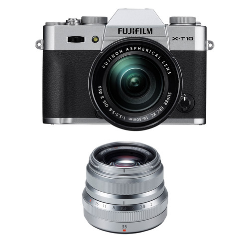 Fujifilm X-T10 Mirrorless Digital Camera with 16-50mm and 35mm Lenses Kit (Silver)