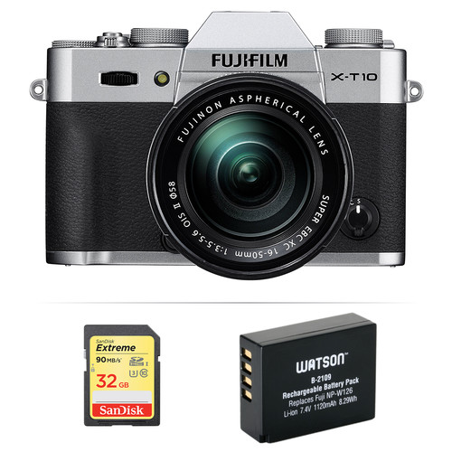 Fujifilm X-T10 Mirrorless Digital Camera with 16-50mm Lens Basic Kit (Silver)