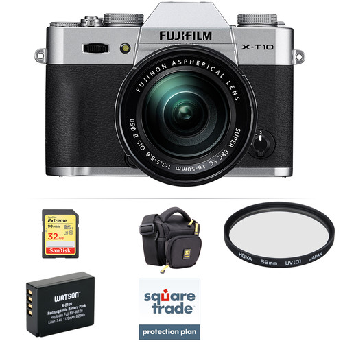 Fujifilm X-T10 Mirrorless Digital Camera with 16-50mm Lens Deluxe Kit (Silver)