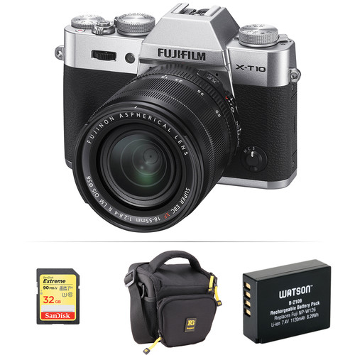 Fujifilm X-T10 Mirrorless Digital Camera with 18-55mm Lens Basic Kit (Silver)